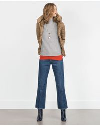 Zara | Natural Faux-Fur Quilted Coat  | Lyst