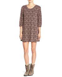Mimi Chica | Purple Floral Print Crisscross Back Dress | Lyst