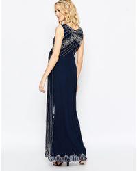 Maya Maternity - Blue Vintage Embellished Maxi Dress - Lyst