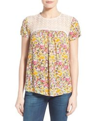 Kut From The Kloth - Multicolor 'serenity' Lace Yoke Floral Print Top - Lyst