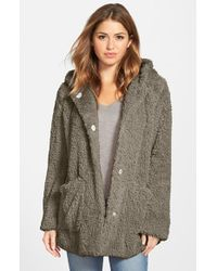 Kenneth Cole | Natural 'teddy Bear' Faux Fur Hooded Coat | Lyst