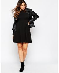 ASOS - Black Curve Empire Dress With High Neck - Lyst