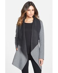 SOIA & KYO Gray Double Face Wool Blend Wrap Coat