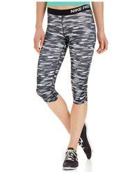 Nike | Gray Pro Dri-fit Haze-print Capri Leggings | Lyst