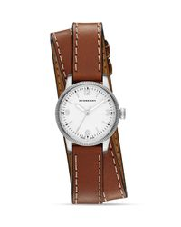 Burberry Brown Utilitarian Stainless Steel & Leather Double-wrap Watch