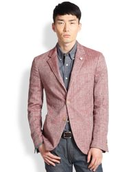 Atelier scotch chambray blazer in red for men lyst for Atelier maison scotch