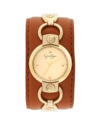 Jessica Simpson | Womens Brown Leather Cuff Strap Watch 30mm Js027d | Lyst