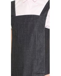 Victoria Beckham Blue Trapeze Pinafore Dress - Japan Crosshatch