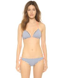Splendid Blue Palm Beach Reversible Triangle Bikini Top - Navy
