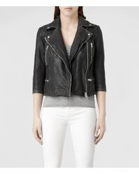 AllSaints | Black Cropped Cargo Leather Biker Jacket | Lyst