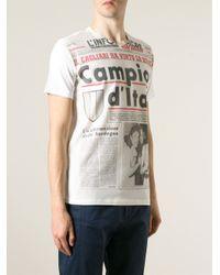 Antonio Marras White Newspaper Print T-Shirt for men