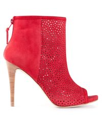 Stuart Weitzman Red In and Out Peep Toe Boot