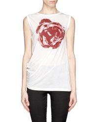 Ann Demeulemeester White Rose Print Asymmetric Tank Top