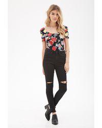 Forever 21 - Red Floral Print Bodysuit - Lyst