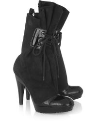 Vivienne Westwood Black Patent Leather-trimmed Suede Boots