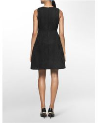 Calvin Klein - Black White Label Textured Lace Pleated Sleeveless Fit + Flare Dress - Lyst