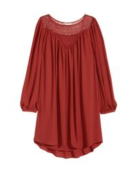 H&M - Red Dress With Lace - Lyst