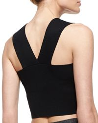 A.L.C. - Black Ali Sleeveless Knit Crop Top - Lyst