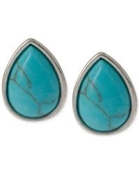 Kenneth Cole - Blue Silver-tone Semi-precious Turquoise Bead Stud Earrings - Lyst