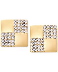 T Tahari | Metallic Gold-tone Checker Crystal Square Stud Earrings | Lyst