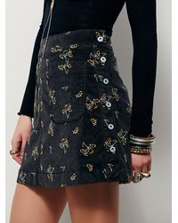 Free People Black Good Times Printed Mini Skirt