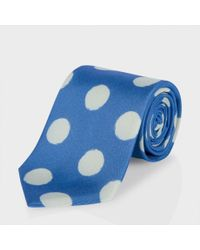Paul Smith Sky Blue Painted Polka Dot Classic Silk Tie for men