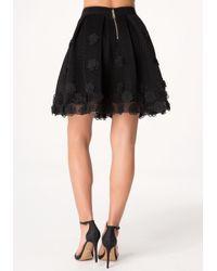 Bebe | Black Applique Flower Skirt | Lyst