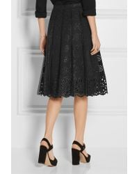 Marc Jacobs - - Pleated Tulle And Broderie Anglaise Cotton Skirt - Black - Lyst