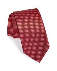 Ermenegildo Zegna - Textured Check Dot Silk Tie Red for Men - Lyst