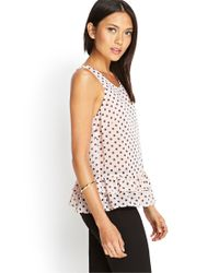 Forever 21 - Pink Polka Dot Ruffled Top - Lyst