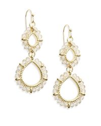 Saks Fifth Avenue | Metallic Beaded Double Drop Earrings/crystal | Lyst
