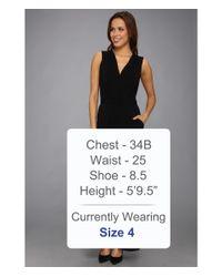Vince Camuto Black Vneck Faux Wrap Jumpsuit Dress