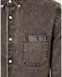 ASOS - Black Denim Shirt In Long Sleeve for Men - Lyst
