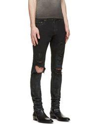 Saint Laurent - Black Distressed Skinny Jeans for Men - Lyst