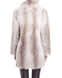 Saks Fifth Avenue - Multicolor Chevron Feathered Fox Fur Jacket - Lyst