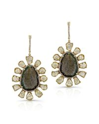Anne Sisteron - 14kt Yellow Gold Diamond Slice And Labradorite Flower Earrings - Lyst
