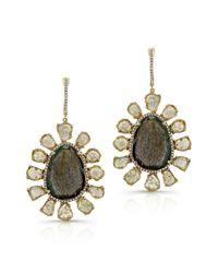 Anne Sisteron   14kt Yellow Gold Diamond Slice And Labradorite Flower Earrings   Lyst