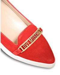 Love Moschino Red Branded Suede Moccasins