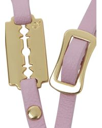 McQ - Pink Razor Leather Wrap Bracelet - Lyst