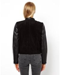 Mango Black Miranda Leather Sleeve Bomber Jacket