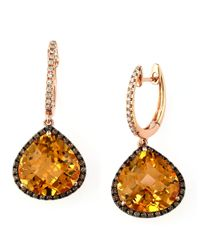Effy | Pink Gemma, Citrine, Diamond And 14k Rose Gold Teardrop Earrings | Lyst