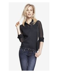 Express Black Sheer Long Sleeve Essential Shirt