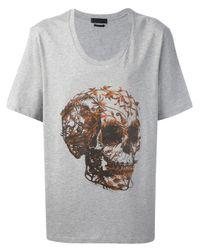 Alexander McQueen Gray Foliage Skull Print T-Shirt for men