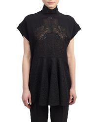 Stella McCartney Black Embroidered Lace-Paneled Tunic Top