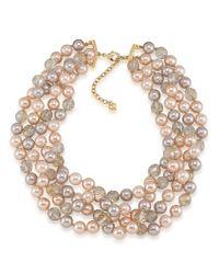 Carolee - Metallic Making Me Blush Fourrow Torsade Necklace - Lyst