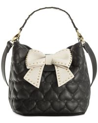 Betsey Johnson | Black Hopeless Romantic Bucket Bag | Lyst