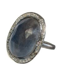 Adornia | Blue Gemstone And Champagne Diamond Perry Ring | Lyst