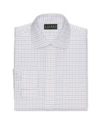 Lauren by Ralph Lauren | White Slim Fit Purple and Black Twill Open Check Dress Shirt for Men | Lyst