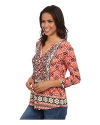 Lucky Brand - Red Block Floral Top - Lyst