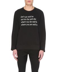 Ann Demeulemeester Black Poem Cotton-jersey Sweatshirt for men